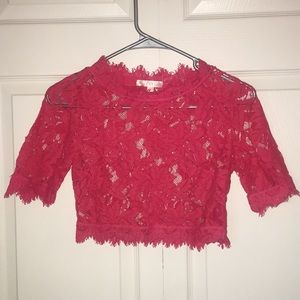 Small: Deep Pink Floral Lace Crop Top